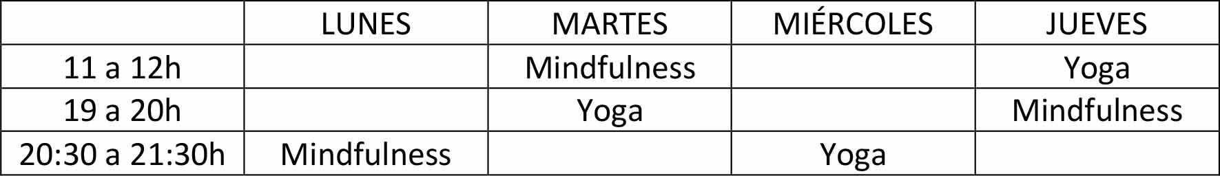 Clases online yoga y mindfulness